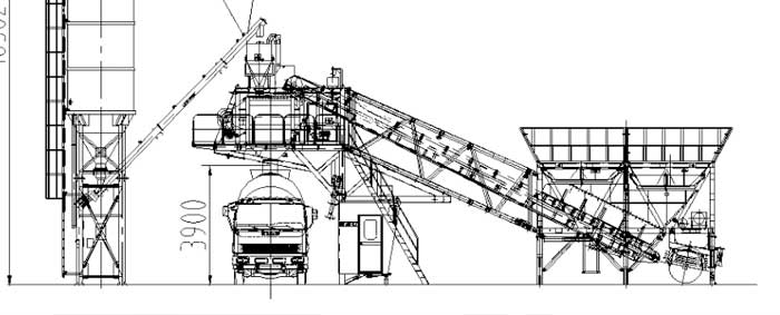 General layout of YHZS30 mobile concrete plant