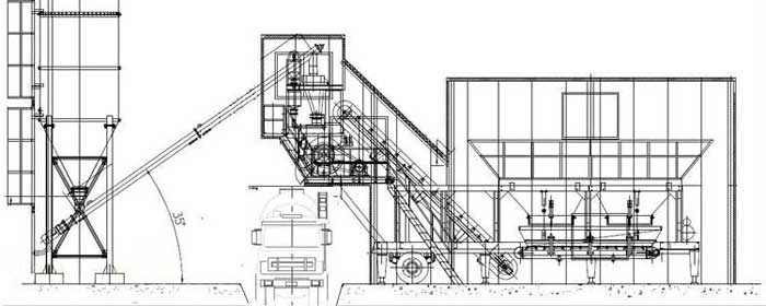 General layout of YHZS25 mobile concrete batching plant